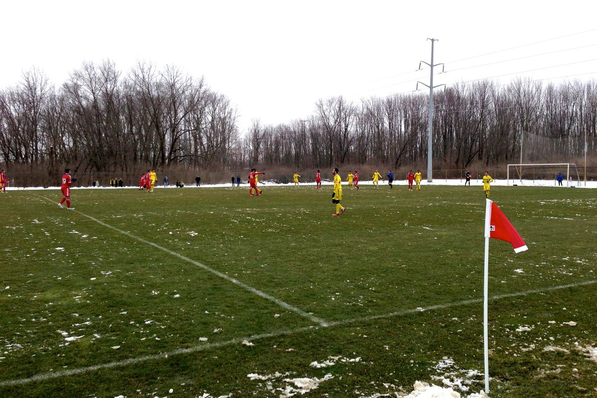 The frozen tundra of an early season reserve match at Obetz