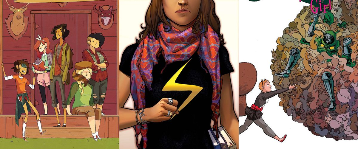Left to right, cover images featuring the summer camp adventurers the Lumberjanes, Kamala Khan in her lightning bolt shirt, and Squirrel Girl, rolling an outraged Doctor Doom away in a giant ball of squirrels.
