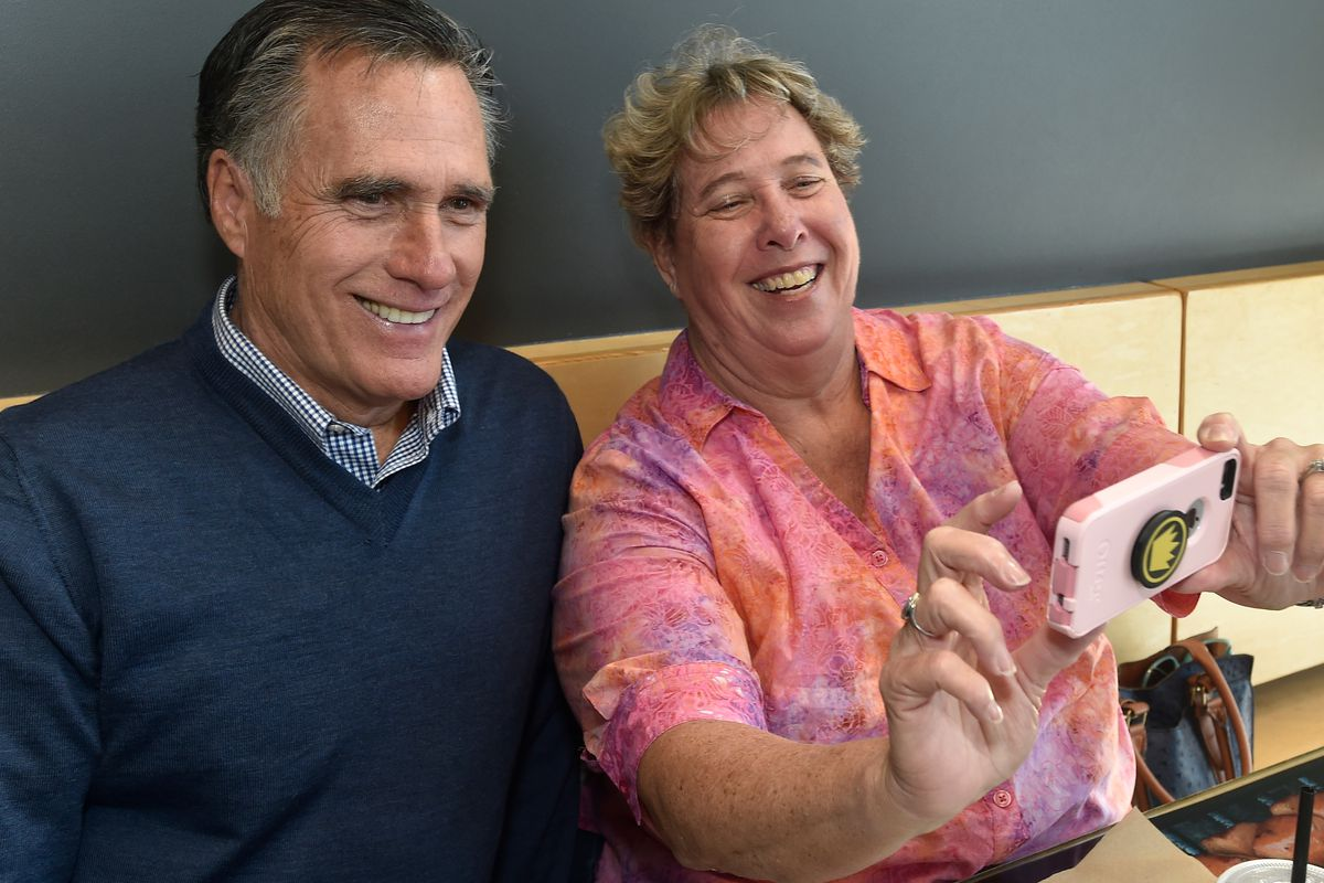 Mitt Romney Meets With Voters After Announcing His Candidacy For Senate