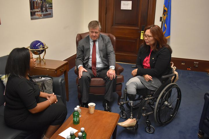 Yvonne Ambrose (left), mother of murdered sex-trafficking victim, Desiree Robinson; one of Ambrose's attorneys, Stephan Blandin of Romanucci & Blandin, and Sen. Tammy Duckworth D-Ill., meet Tuesday before Ambrose shares her story with the Senate Comme