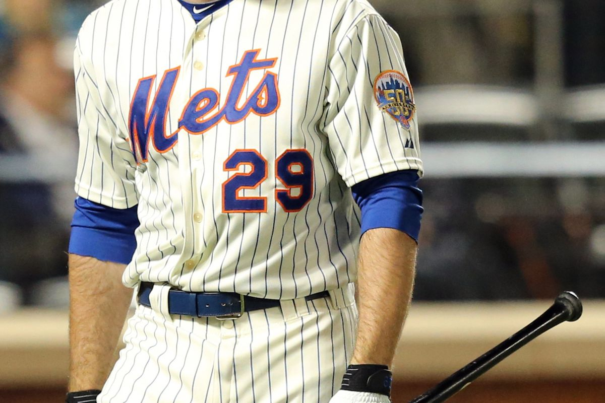 Sep 10, 2012; Flushing, NY,USA;  New York Mets first baseman Ike Davis (29) after striking out during the sixth inning against the Washington Nationals at Citi Field.  Mandatory Credit: Anthony Gruppuso-US PRESSWIRE