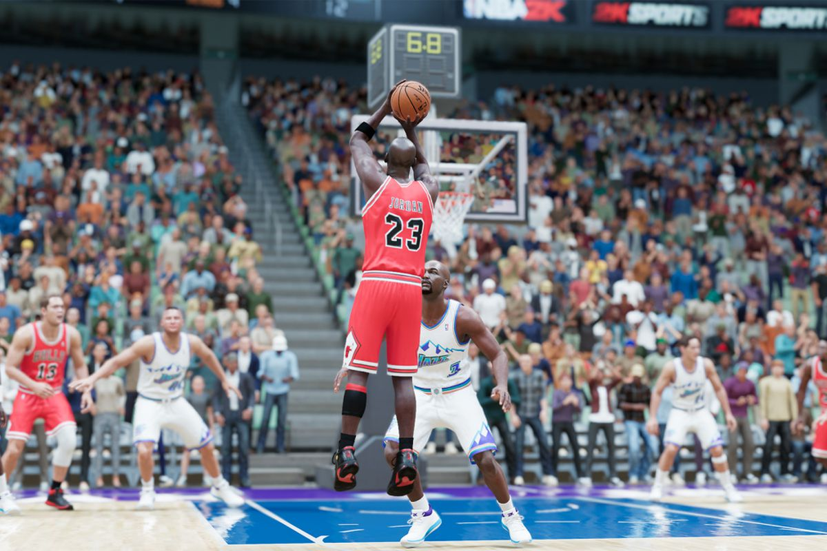 Shortly after committing an offensive foul on Utah's Bryon Russell, Michael Jordan launches a 15-foot jumper from the elbow to beat the Jazz 87-86 on June 14, 1998.