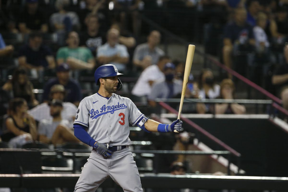 Chris Taylor #3 of the Los Angeles Dodgers during an at-bat against the Arizona Diamondbacks in the eighth inning of the MLB game at Chase Field on September 24, 2021 in Phoenix, Arizona.
