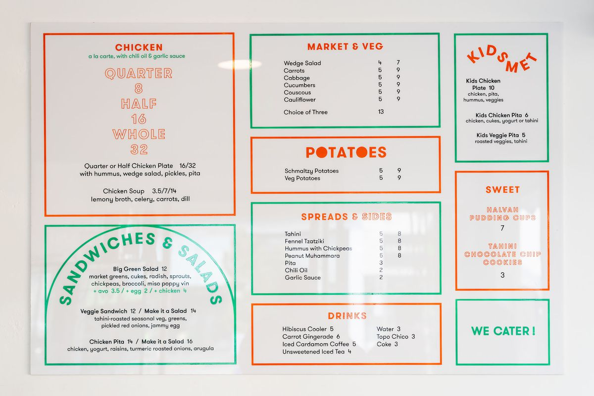 A colored menu for a new rotisserie restaurant hangs inside.