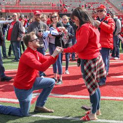 There was a marriage proposal and acceptance right after the spring game was over.