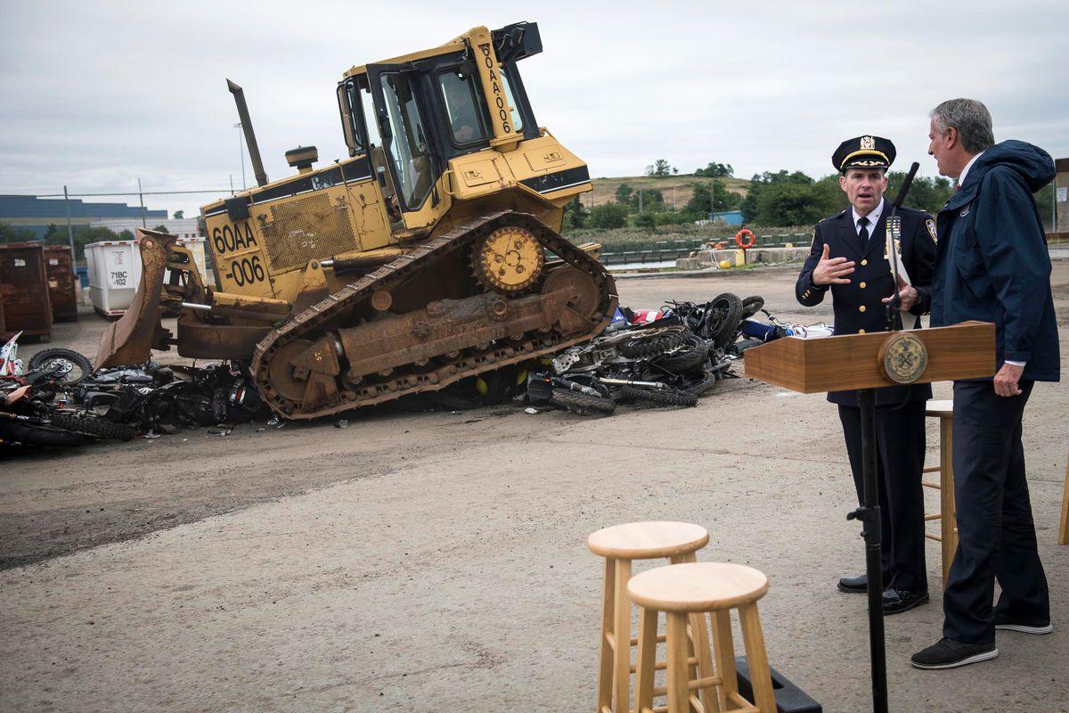 Mayor Bill de Blasio held a Staten Island press conference to crush dirt bikes and ATVs, Sept. 16, 2021.
