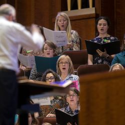 After more than 18 months, the Tabernacle Choir resumes rehearsals at the Conference Center in Salt Lake City on Tuesday, Sept. 21, 2021.