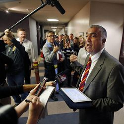 Salt Lake County District Attorney Sim Gill announces that the county will continue to issue marriage licenses, Monday, Dec. 23, 2013. U.S. District Judge Robert Shelby denied a motion by the state of Utah to halt same-sex marriages pending an appeal.