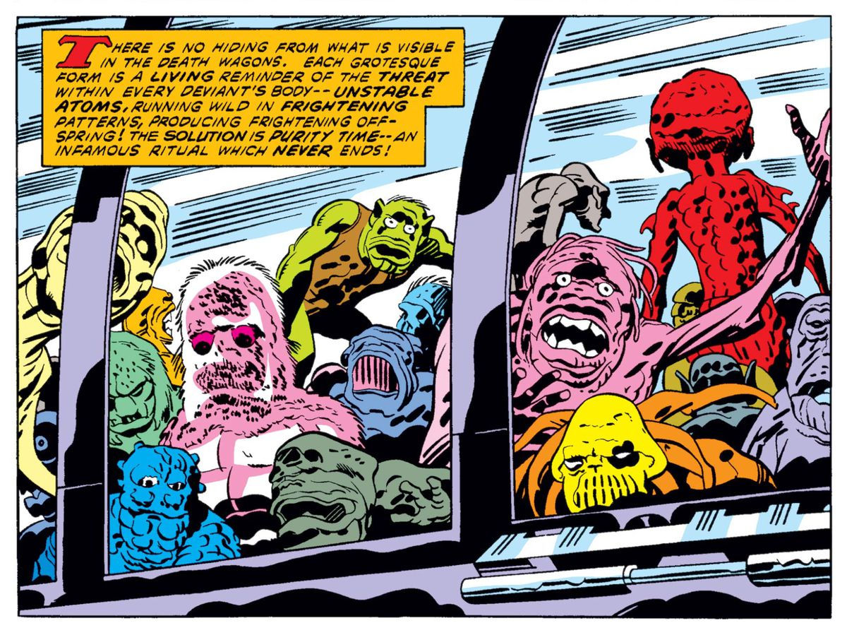 """The grotesque forms of mutated Deviants paw at the windows of a vehicle in Eternals #8 (1977). """"Each grotesque form is a living reminder of the threat within every Deviant's body — unstable atoms, running wild in frightening patterns, producing frightening offspring!"""" reads a narration box."""
