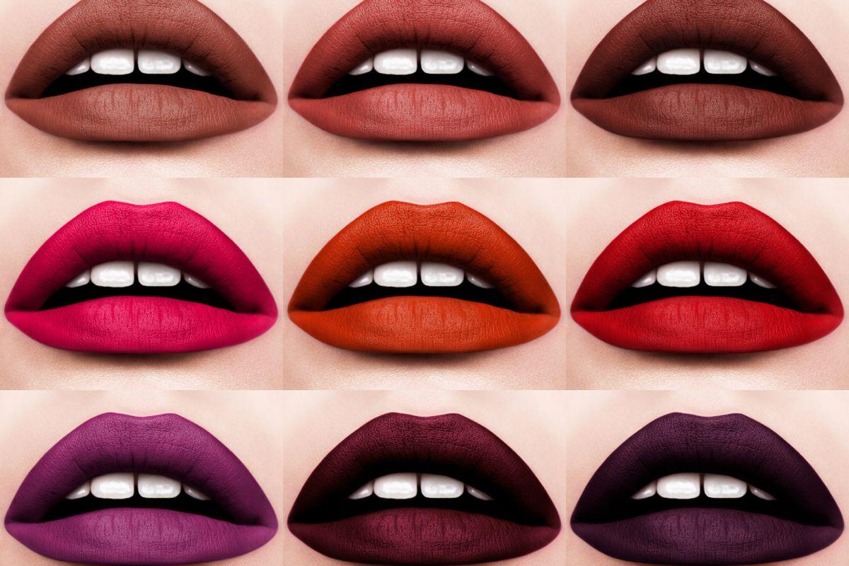 9 lips wearing matte lipstick