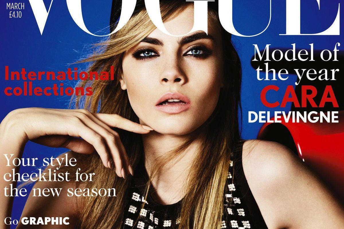"Image via <a href=""http://www.vogue.co.uk/news/2013/02/04/cara-delevingne-british-vogue-cover-interview-video---voguecouk-exclusive"">Vogue UK</a>"