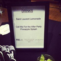 Saint Laurent-themed drinks, courtesy of Little Black Dress vodka