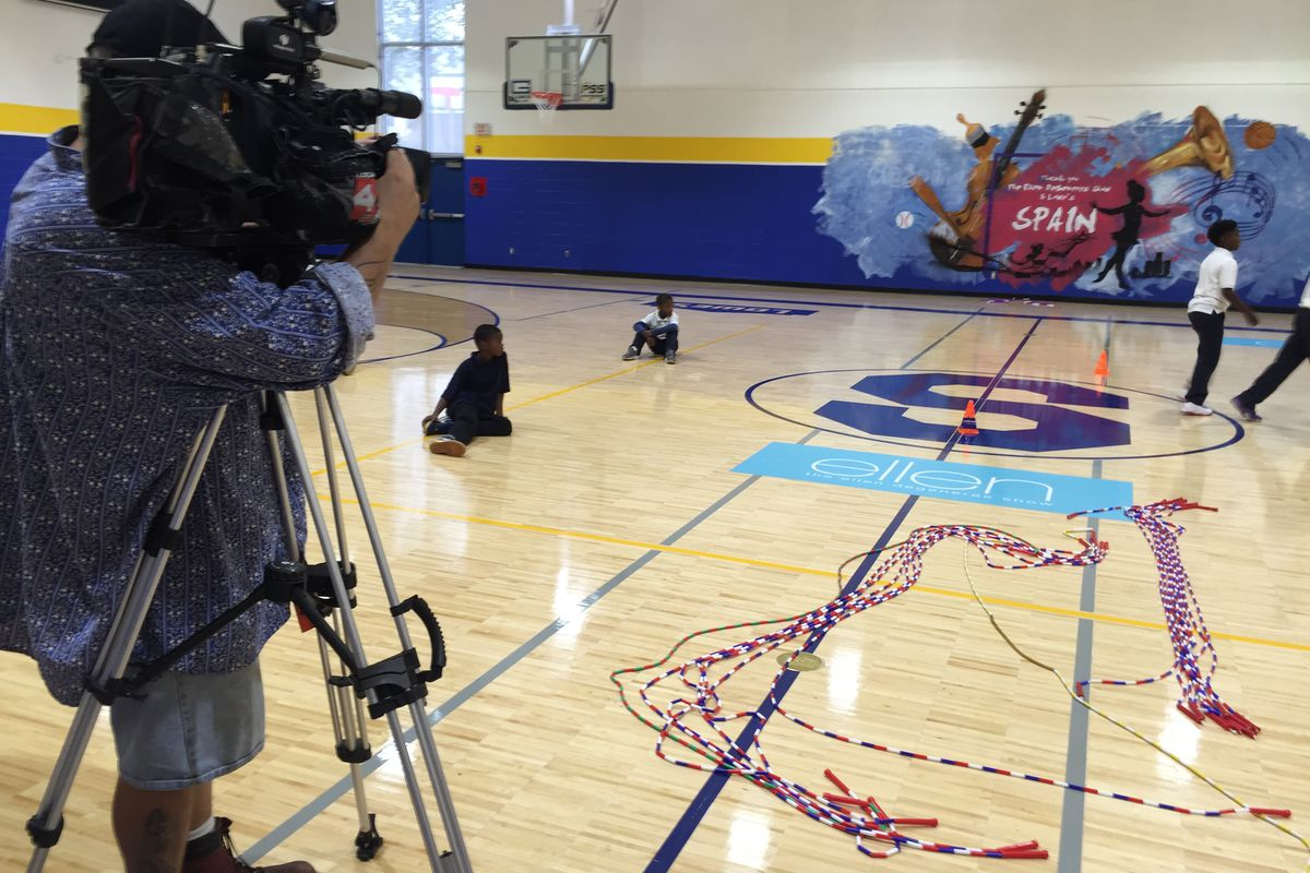 Months after the buckling gym floor at Spain Elementary-Middle school became a symbol of problems in Detroit schools, the school invited the media to tour its newly refurbished facilities.