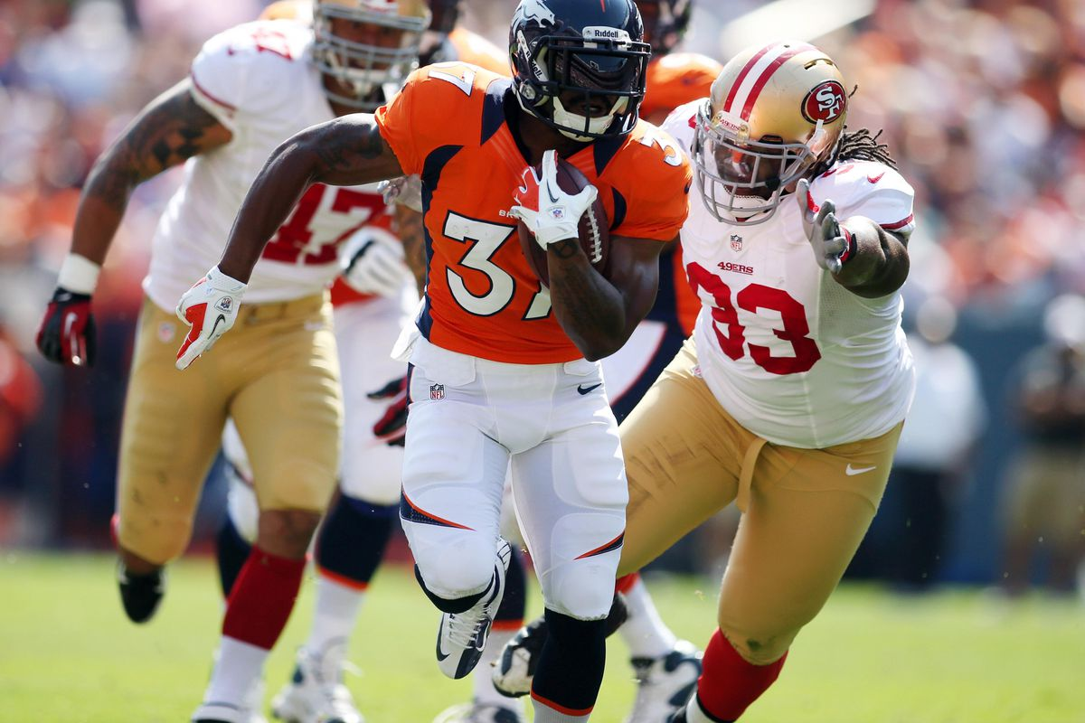 August 26, 2012; Denver, CO, USA; Denver Broncos running back Jeremiah Johnson (37) runs with the ball during the second quarter against the San Francisco 49ers at Sports Authority Field at Mile High.  Mandatory Credit: Chris Humphreys-US PRESSWIRE