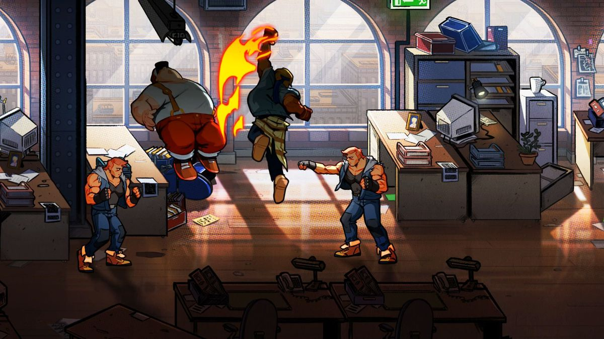 colorful action from the throwback beat-em-up Streets of Rage 4