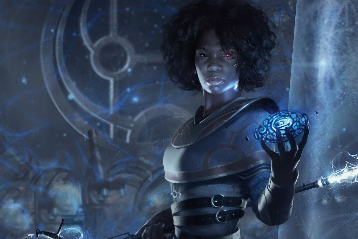 A depiction of a Planeswalker in Magic: The Gathering, shown wielding purple spells in a dimly lit room. An astrolabe moves in the background.