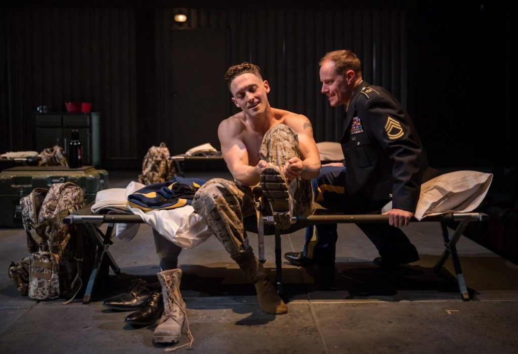 """Luigi Sottile plays Cassio and Michael Milligan is Iago in the Chicago Shakespeare Theater production of """"Othello."""" (Photo: Liz Lauren)"""