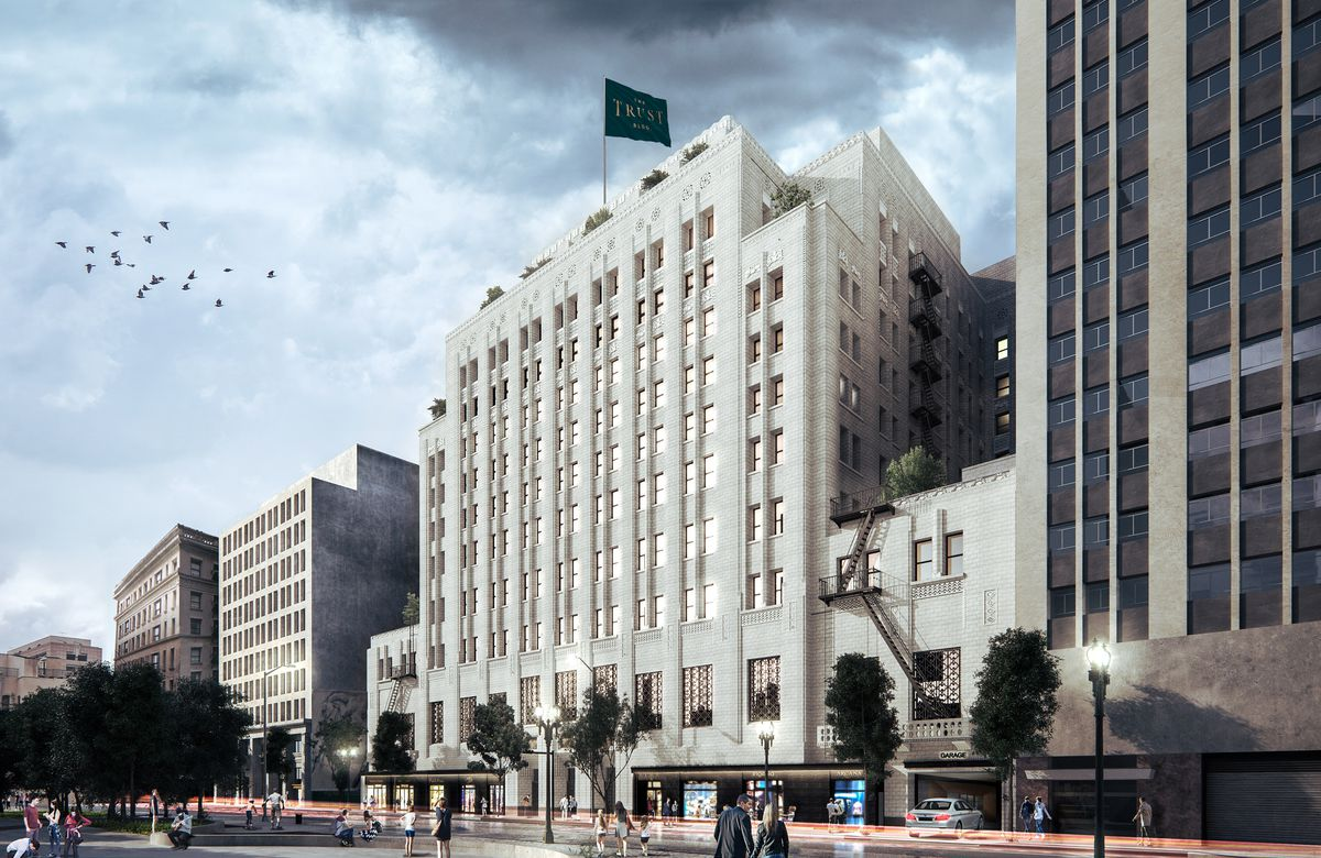 A rendering of the Trust Building post-restoration in Downtown LA.