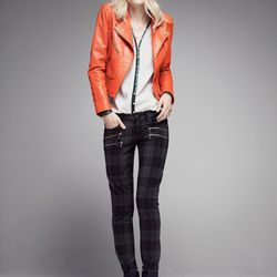 Truth & Pride perforated leather bomber jacket, orange; also in black, $399.90 after sale $598. Paige plaid pants, polyester/viscose/elastane, black/red, $179.90 after sale $299