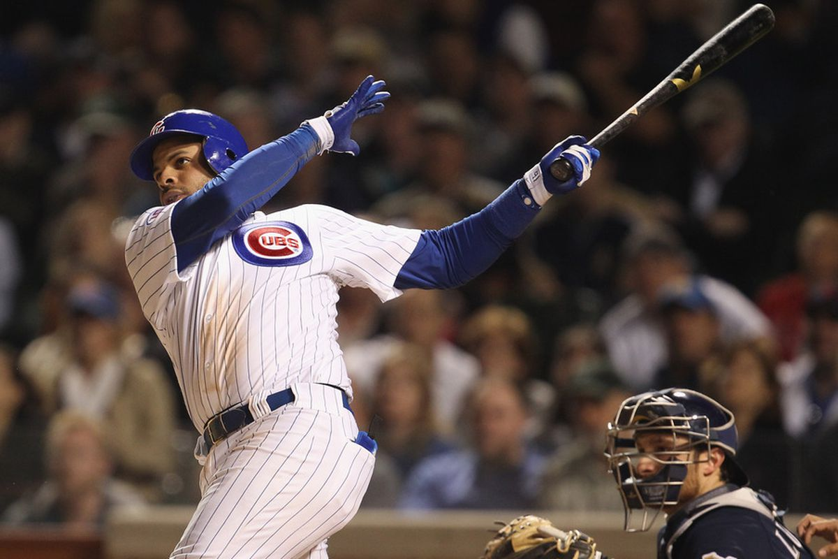 Aramis Ramirez of the Chicago Cubs hits a game-tying, two-run home run in the 8th inning against the Milwaukee Brewers at Wrigley Field on June 14, 2011 in Chicago, Illinois. (Photo by Jonathan Daniel/Getty Images)