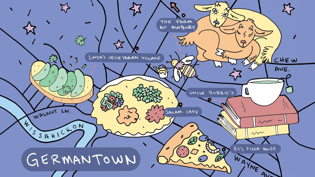 An illustrated map of Germantown in blue, with a pizza slice, two goats hugging each other, a dish of Ethiopian injera, and books stacked on top of each other with a cup of tea.