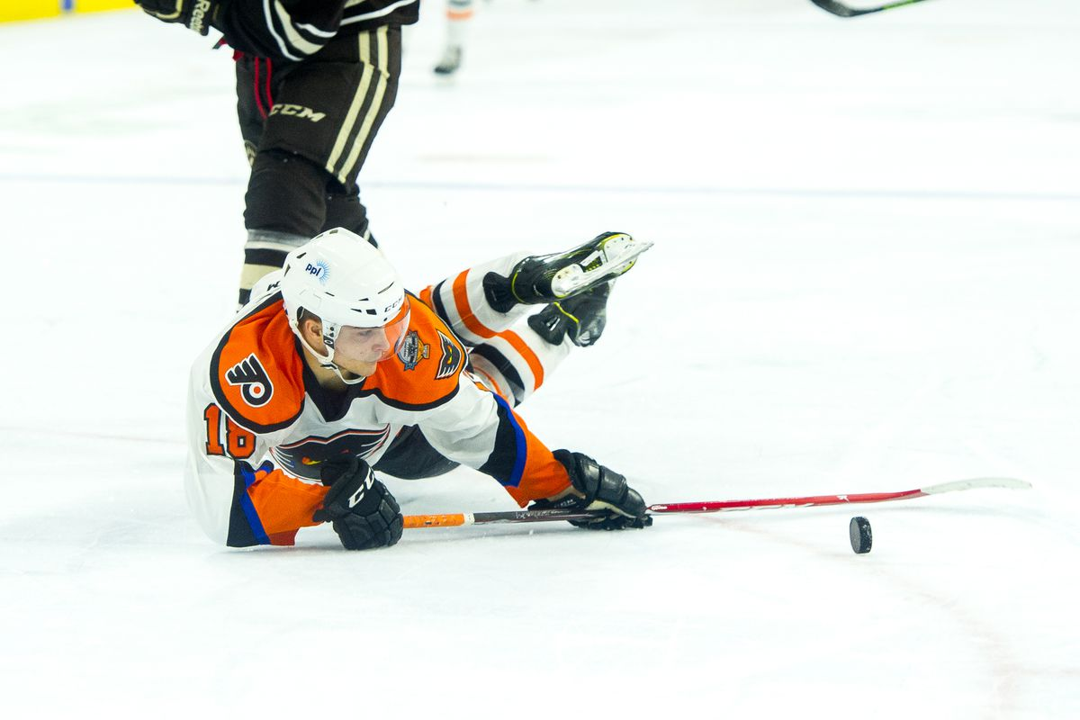 Danick Martel scores his first AHL goal while sliding across the ice Tuesday in the Phantoms 4-1 win over Hershey.