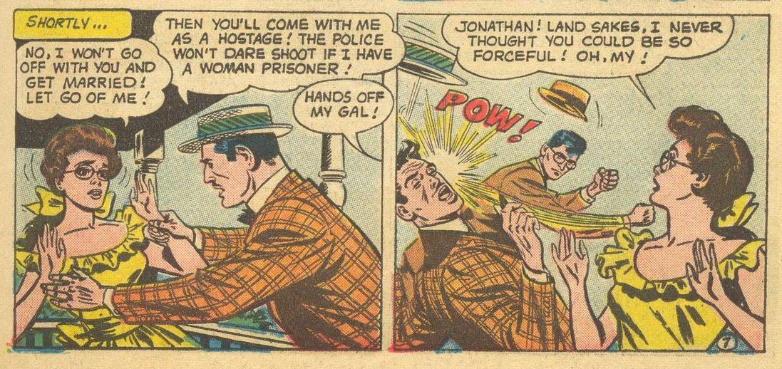 """A confidence man attempts to take Martha Hudson hostage, before Jonathan Kent slugs him one but good. """"Land sakes,"""" Martha cries, """"I never thought you could be so forceful! Oh, my!"""" in Superman #141, DC Comics (1960)."""