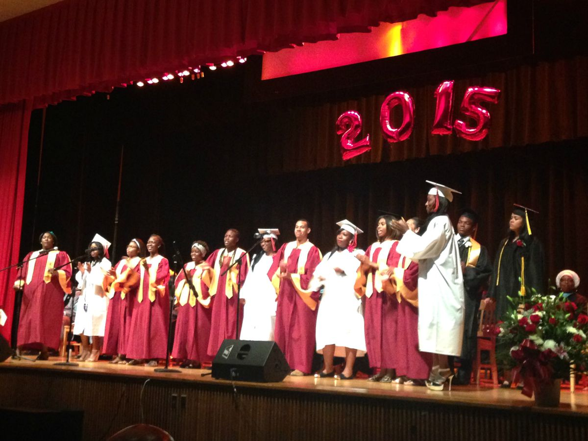 A joint Medgar Evers-Boys and Girls choir performed at Thursday's graduation.