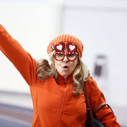 Isil Valentijn of Boston gets into the spirit during the ISU World Single Distances Speed Skating Championships at the Utah Olympic Oval in Kearns on Friday, Feb. 14, 2020.