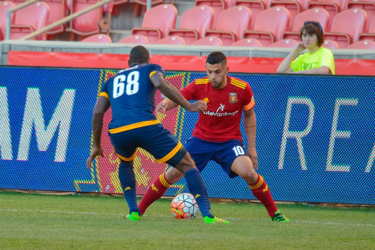 Ricardo Velazco of Real Monarchs on the ball against LA Galaxy 2 in a USL match.