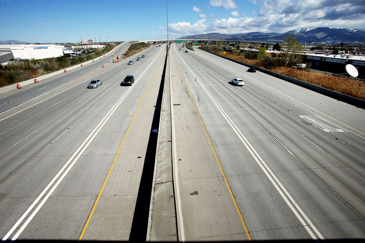 Lighter-than-normal traffic is pictured on I-15 in Salt Lake City during the coronavirus pandemic on Monday, April 13, 2020.