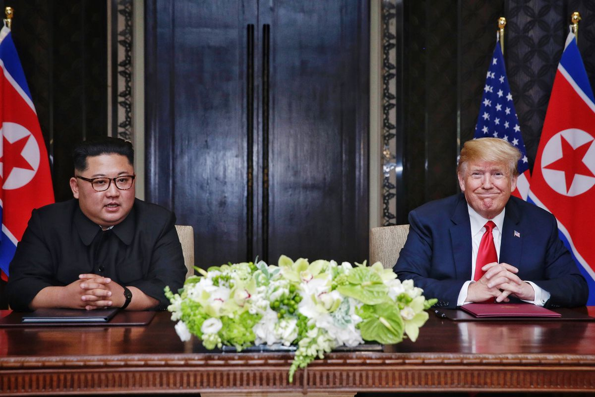 North Korean leader Kim Jong Un and President Donald Trump during their Singapore summit on June 12, 2018.