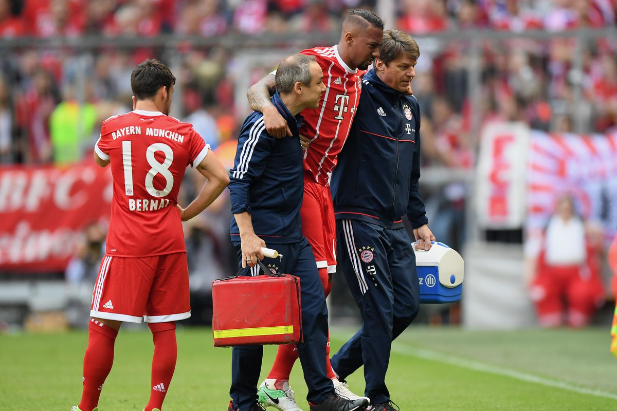 Munich Germany May  Jerome Boateng Of Fc Bayern Muenchen Is Seen Injured During The Bundesliga Match Between Bayern Muenchen And Sc Freiburg At