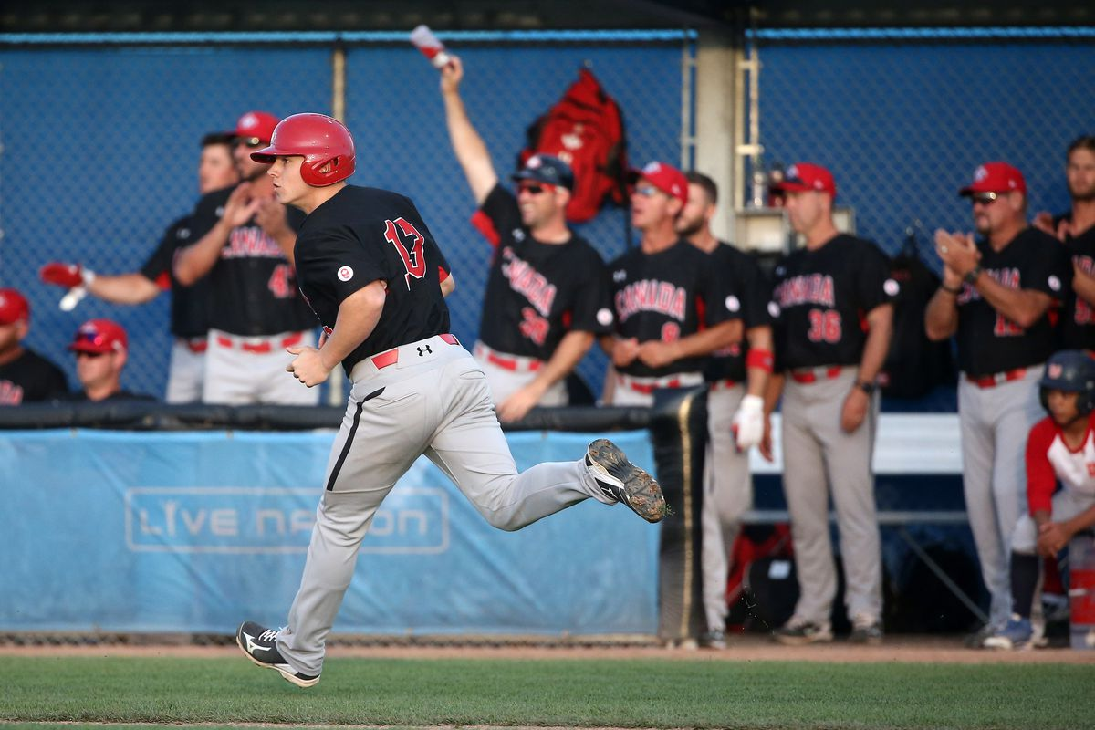 Tyler O'Neill rounds the bases after hitting a home run in the 2015 Pan-Am games
