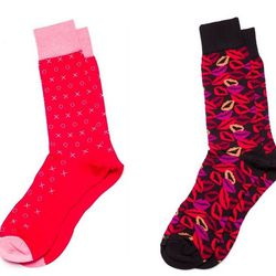 """These socks are not only cheerful, they also have an infused custom arch support that helps increase circulation and mitigates foot fatigue. Hook and Albert """"Kiss My Feet"""" and """"XOXO"""" socks, $30 at Fabric Row men's shop <a href""""http://armourphiladelphia.co"""