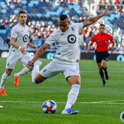 June 12, 2019 - Saint Paul, Minnesota, United States - Minnesota United forward Angelo Rodriguez (9) scores the opening goal during the US Open Cup match between Minnesota United and Sporting KC at Allianz Field.