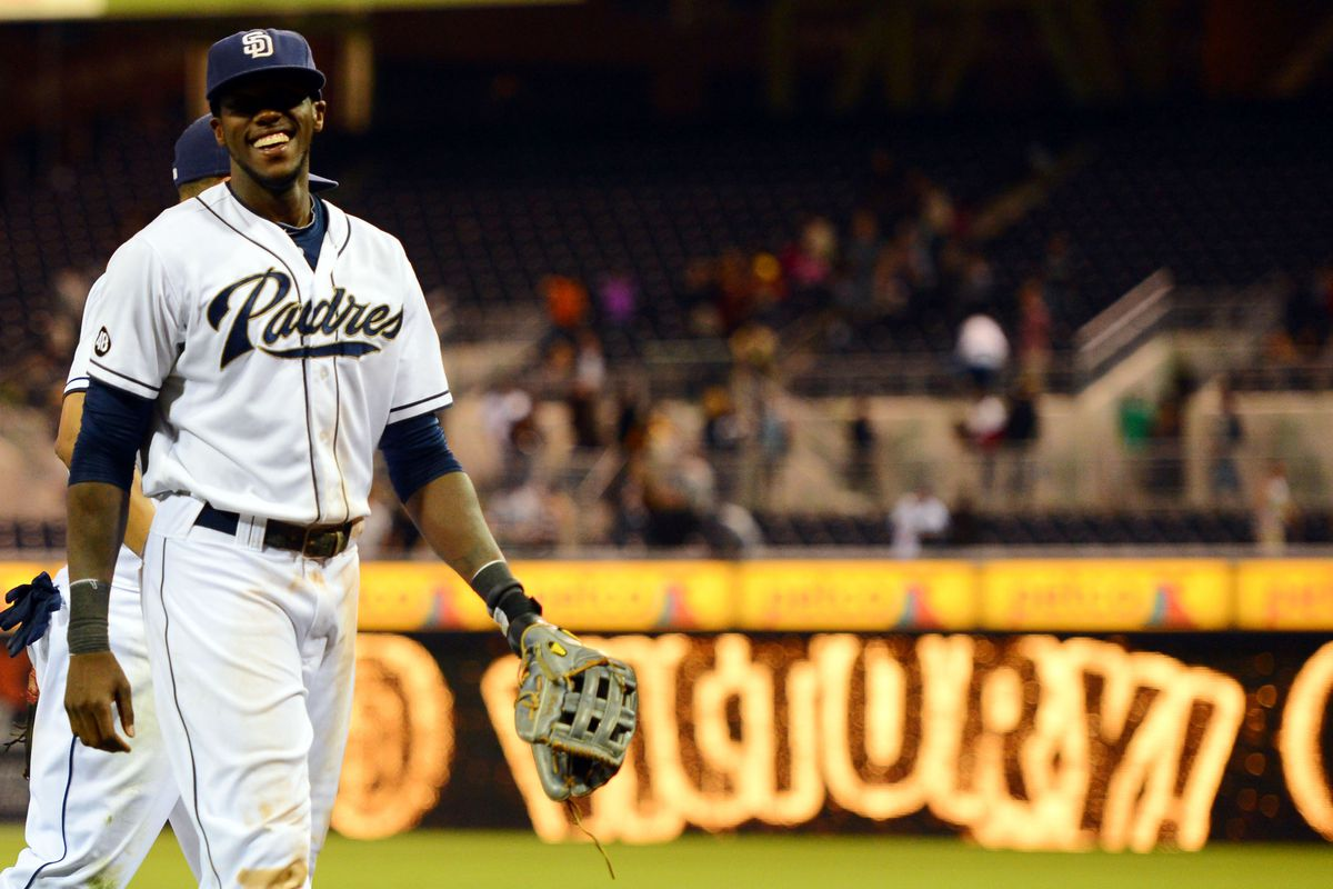 July 17, 2012; San Diego, CA, USA; San Diego Padres center fielder Cameron Maybin (24) reacts after a 8-2 win against the Houston Astros at Petco Park.  Mandatory Credit: Christopher Hanewinckel-US PRESSWIRE
