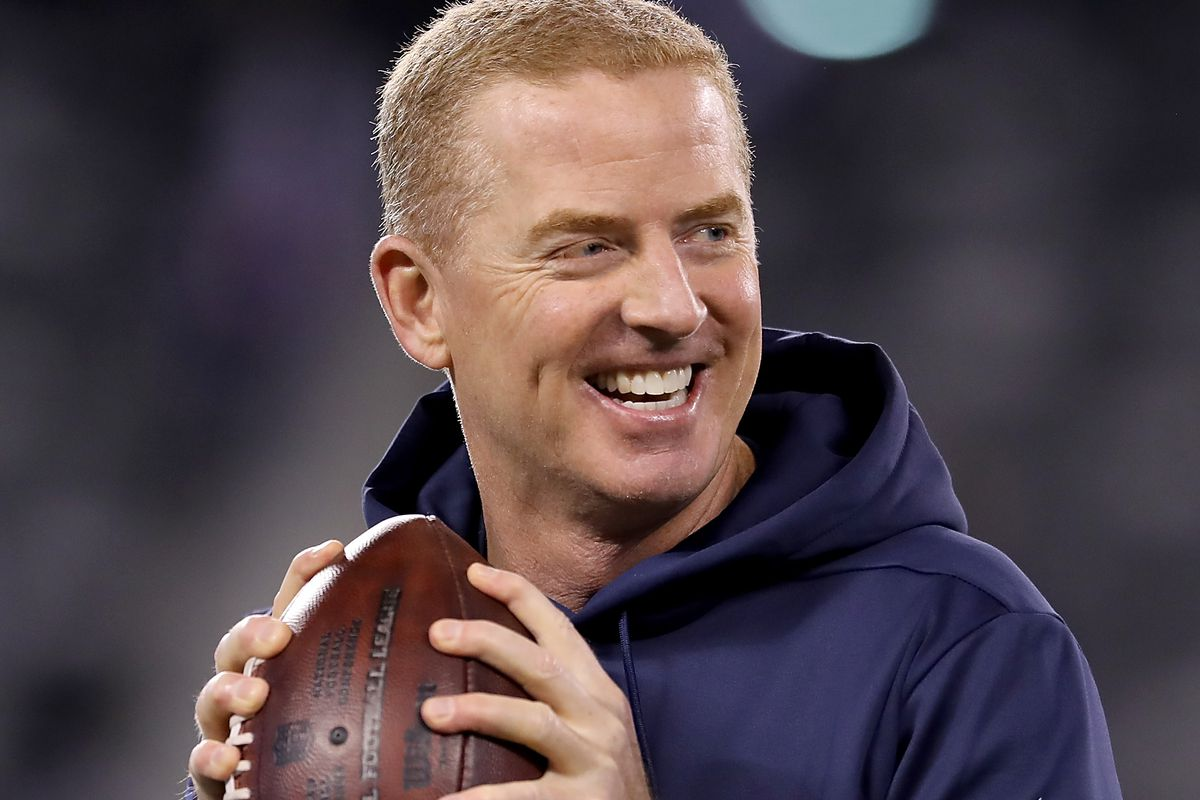 Head coach Jason Garrett of the Dallas Cowboys warms up with the team before the game against the New York Giants at MetLife Stadium on November 04, 2019 in East Rutherford, New Jersey.