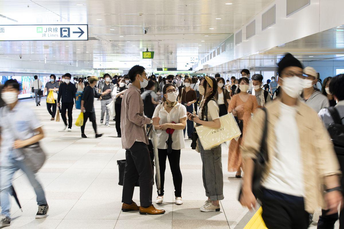People wearing face masks in Tokyo.