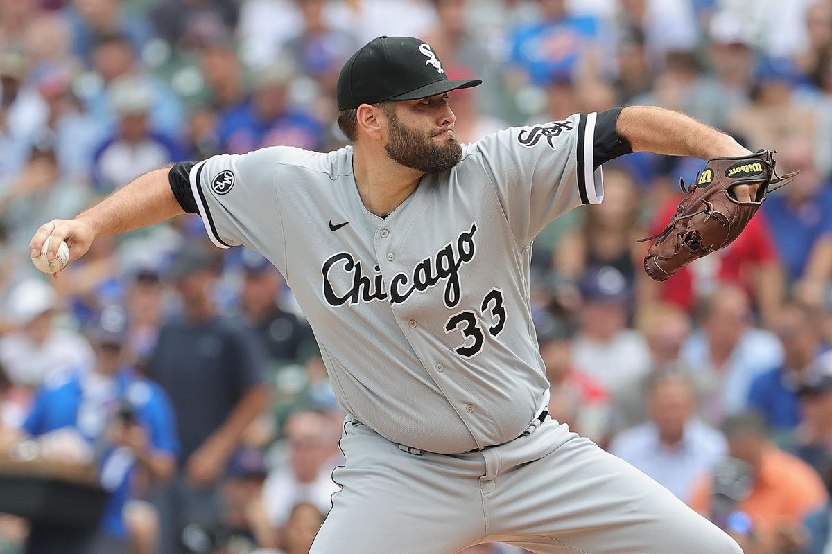 Starting pitcher Lance Lynn #33 of the Chicago White Sox delivers the ball against the Chicago Cubs at Wrigley Field on August 06, 2021 in Chicago, Illinois. The White Sox defeated the Cubs 8-6 in 10 innings.