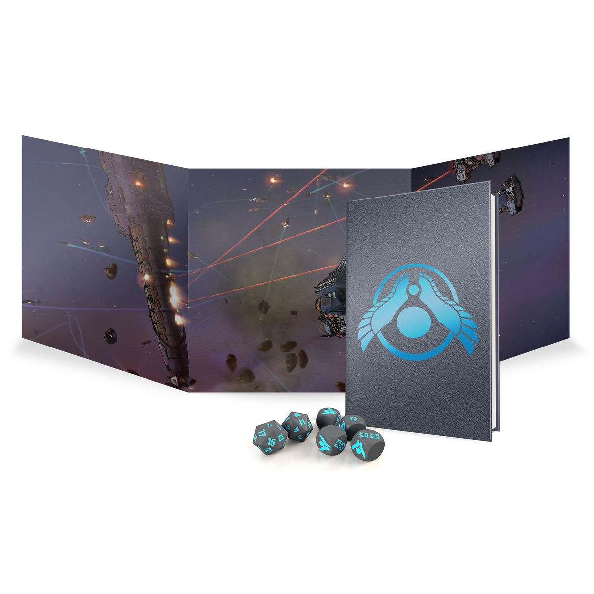 A gray book with a stylized blue chevron, plus a thematic space battle on a tryptic screen and gray and blue dice.