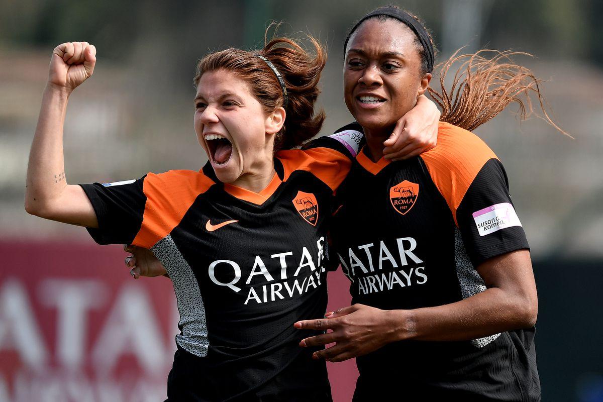 Allyson Swaby of AS Roma celebrates with Manuela Giugliano...
