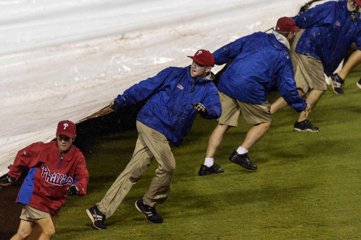 The Phillies Grounds Crew set up Ghengis Khan's tent prior to today's game.
