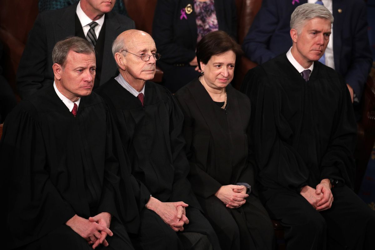 Justices Roberts, Breyer, Kagan, and Gorsuch at the State of the Union on January 30, 2018.
