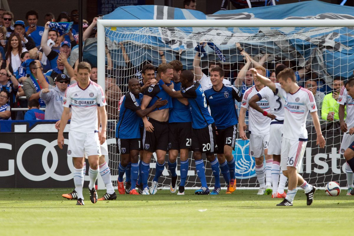 The Quakes celebrate Ty Harden's first-ever MLS goal