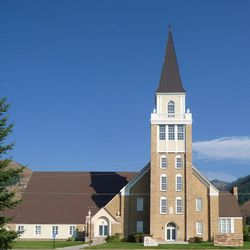 The tower of the historic Star Valley Tabernacle still looms over Afton, Wyoming, Saturday, Aug. 15, 2009.