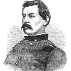George B. McClellan was a union general in the American Civil War. This illustration is from The Leisure Hour magazine published in June 1864.