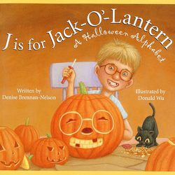 """This book cover released by Sleeping Bear Press shows the cover of """"J is for Jack-O-Lantern-A Halloween Alphabet,"""" written by Denise Brennan-Nelson and illustrated by Donald Wu."""