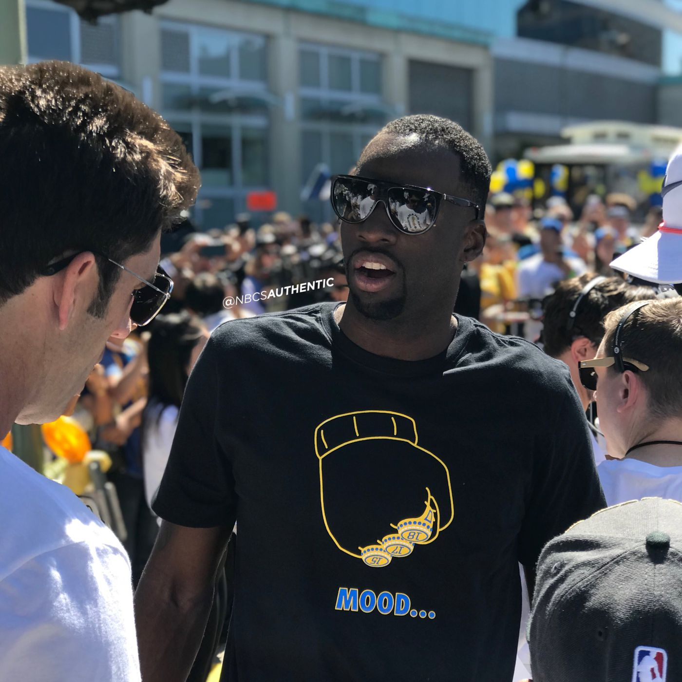 9a8afe4cc2b Draymond Green trolls LeBron James with Arthur meme shirt at parade ...