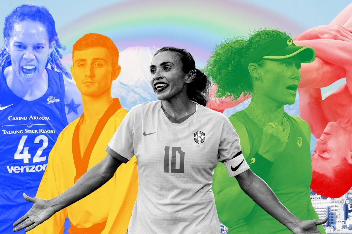 Out LGBTQ Olympians are competing in Tokyo in record numbers. Five of the group (l-r): Brittney Griner (basketball, USA); Jack Woolley (taekwondo, Ireland); Marta (Brazil, soccer); Sam Stosur (tennis, Australia); Anton Down-Jenkins (diving, New Zealand).